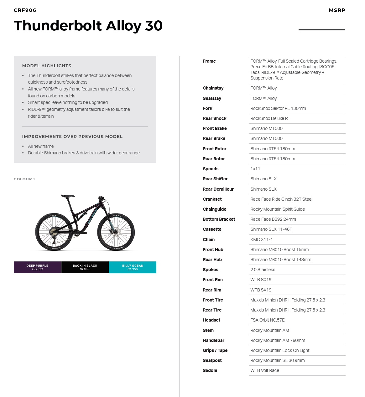 Rocky Mountain Thunderbolt Alloy