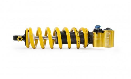 L'Ohlins TTX22M con la molla gialla in acciaio.