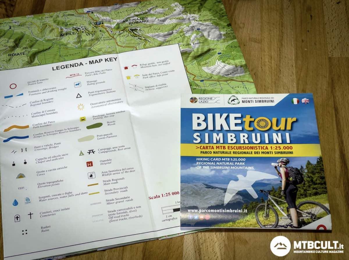 mappa Bike Tour del Parco dei Monti Simbruini
